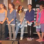 Die 8 Finalistinnen des Damenbewerbs: vlnr. Katharina Bacher (3.), Julia Pinggera (1.), Hannah Schubert (2.), Elena Brunner (5.), Julia Fischer (6.), Sarah Kantschieder (7.), Sarah Weiler (8.); nich im Bild die 4. Sabine Knabl (verdeckt)