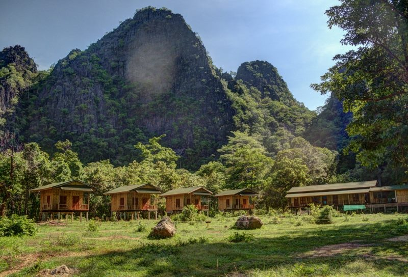 Green Climbers Home  Laos Klettern