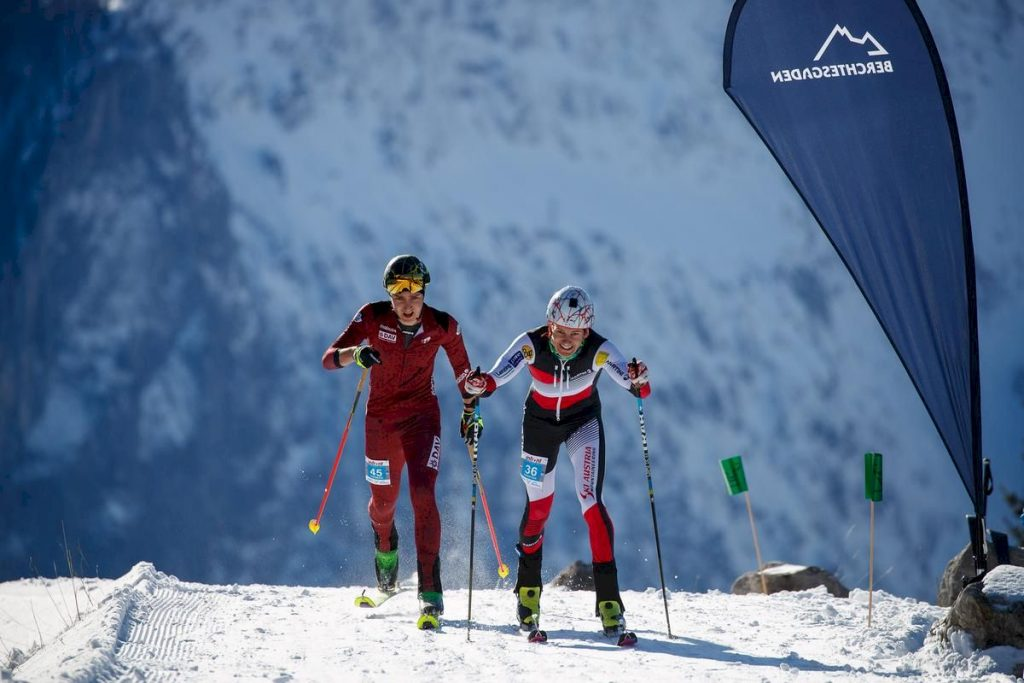 BERCHTESGADEN, GERMANY- FEBRUARY 07: Thomas Kletzenbauer of Germany (left) and Christian Seidl of Austria compete during the ISMF Ski Mountaineering Worldcup vertical race on February 07, 2020 in Schönau am Königssee, Germany, Germany. (Photo by Marco Kost).